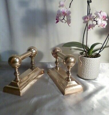 Antique Victorian Brass Firedogs or Andirons-Matching Pair-Great Condition