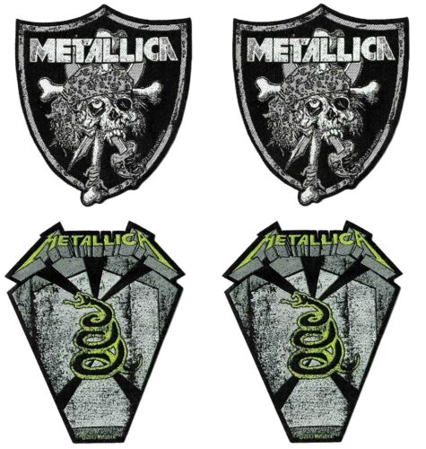 Metallica Raider Skull + Pit Boss Coffin 4 Patch Set [UK Import] Die-Cut Patches