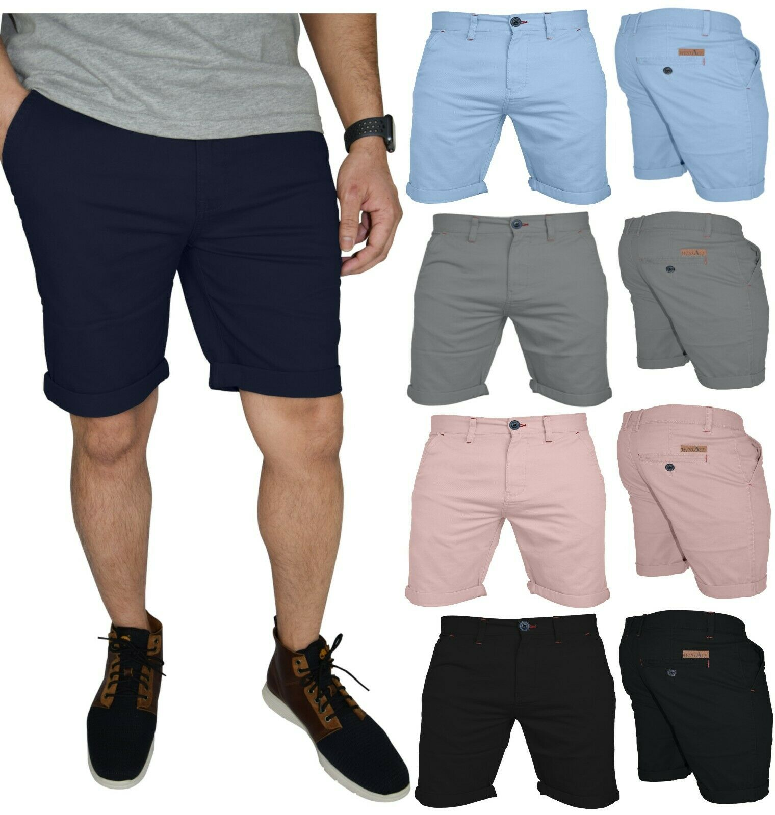 Mens Stretch Chino Shorts Casual Flat Front Slim Fit Spandex Half Pant Clothing, Shoes & Accessories