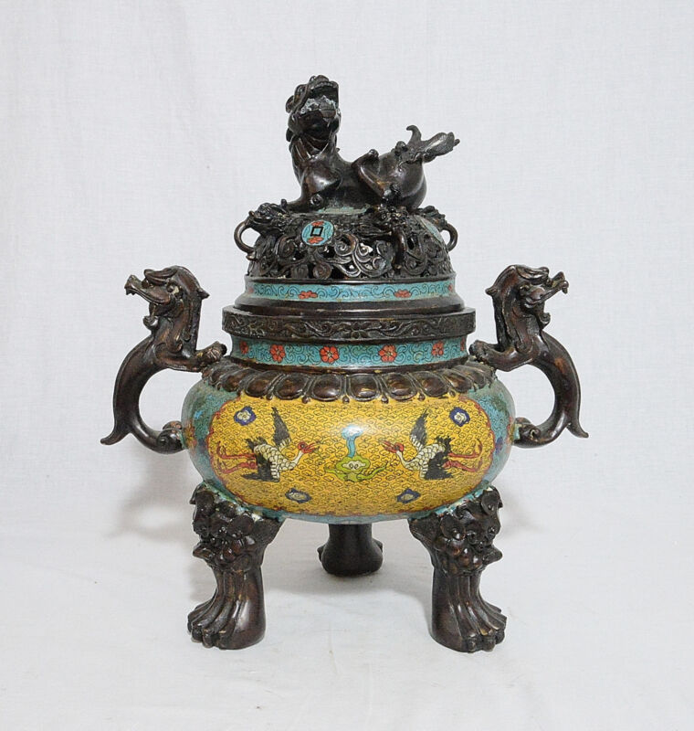 Large  Chinese  Tripod  Bronze  Incense  Burner  With  Mark     M1072