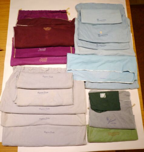 16 Vintage Felt Sterling Silver Anti-Tarnish Bags, Cartier, Cade, Jaccards, Etc.