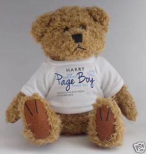 Personalised, customised wedding party PAGE BOY teddy bear gift to say thank you