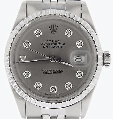 Rolex Datejust Mens Stainless Steel Watch Dark Silver Diamond Dial Jubilee Band