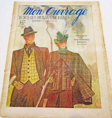 1930s Vintage French Magazine Mon Ouvrage December 1938 Embroidery, Sewing
