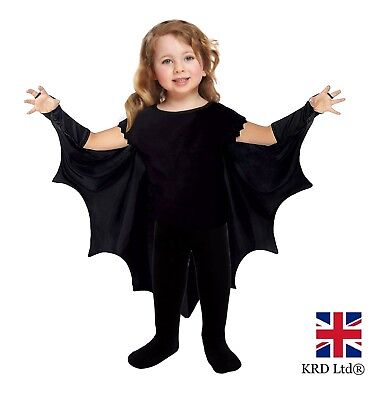 Toddler VAMPIRE BAT WINGS Costume Halloween Dress Costume Outfit Age 2-3 NEW UK