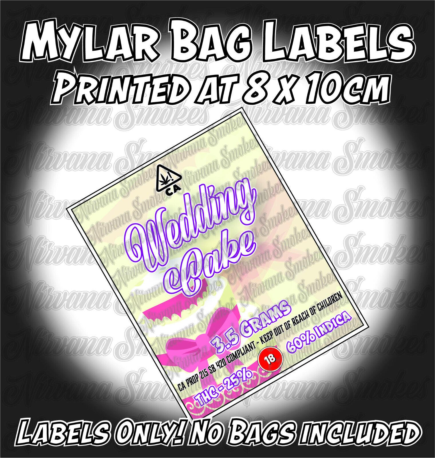 Wedding Cake Mylar Bag Pouch Labels 8cm X 10cm Cali Strain Stickers Ebay