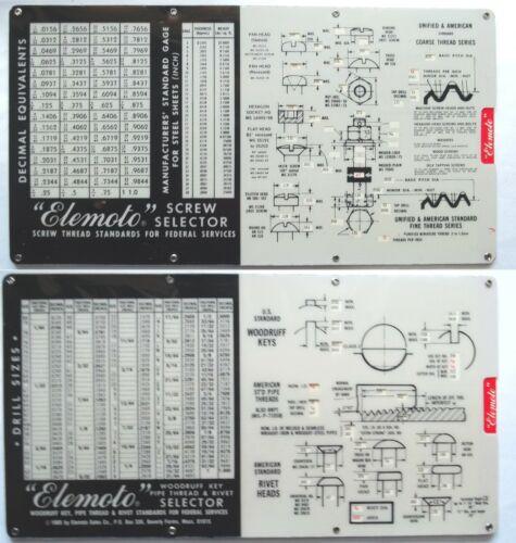 Elemoto Screw & Woodruff Key Selector Slide-Rule Type NICE Drafting-Machinist