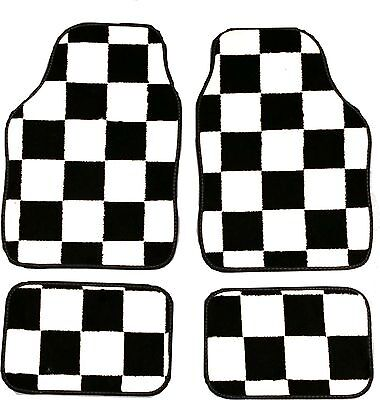 CHEQUERED RACING FLAG FULL CARPET FLOOR WELL MATS FOR ALL MINI