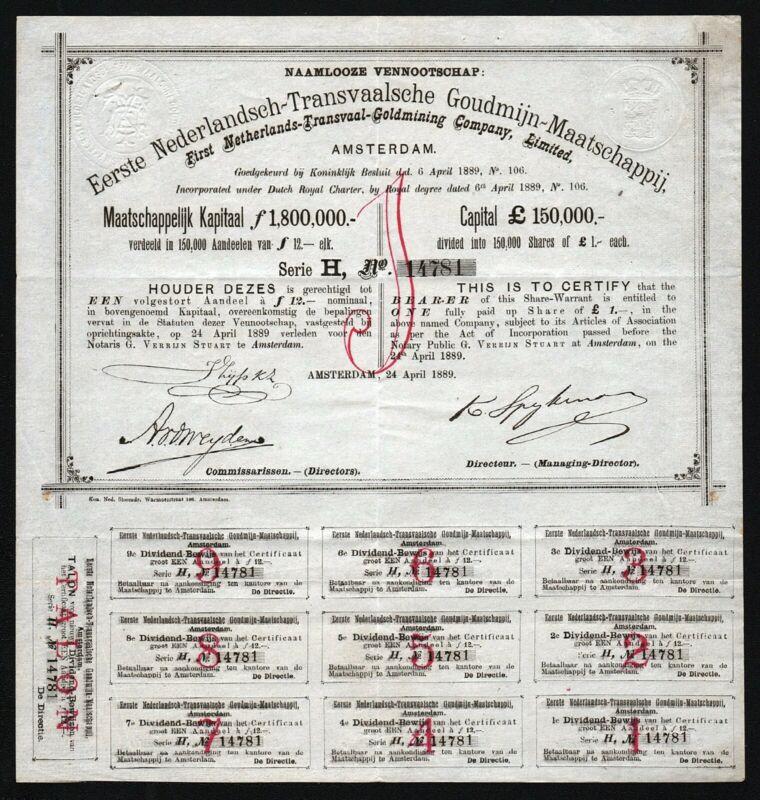 1889 Netherlands/South Africa: Nederlandsch-Transvaalsche Goudmijn-Maatschappij