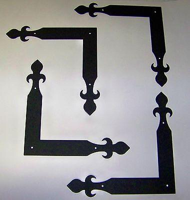 Carriage House Garage Door Corner Brackets Decorative Hardware - Fleur-de-lis