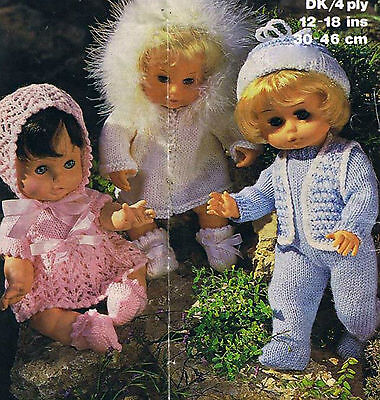 """KNITTING Pattern- Dolls Outfits to knit in DK-4ply- fits 12-18"""" dolls- vintage"""