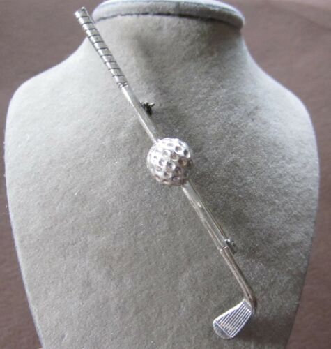 """FABULOUS VINTAGE STERLING SILVER GOLF CLUB & BALL PIN SIGNED BEAU BIG 2 7/8"""""""