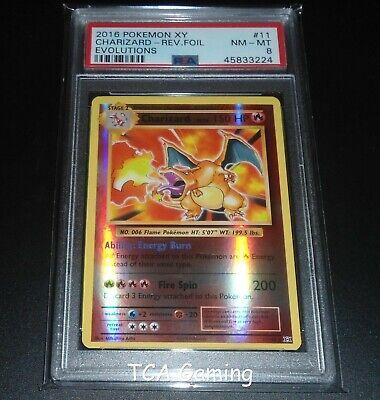 PSA 8 NM-MINT Charizard 11/108 XY Evolutions REVERSE HOLO Pokemon Card