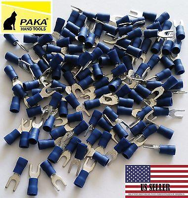 150 Pcs - Spade Fork Terminals Vinyl Blue 16-14 Wire Size 8 Stud Size 4.3mm