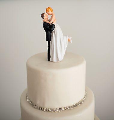 Romantic Brunette Groom lifting Blonde Bride Couple Wedding Cake Topper -NIB - Brunette Bride Cake Topper