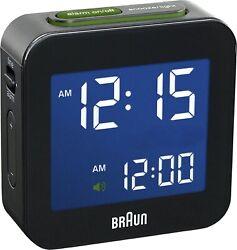 Braun BNC008BK Black Digital LCD Travel Quartz Alarm Clock