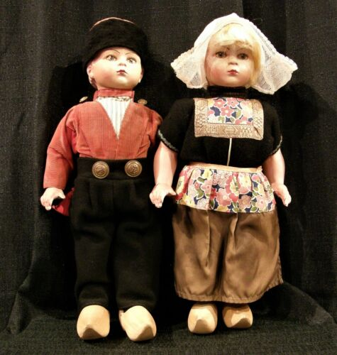 """Vintage Tall 18"""" inches Dutch Boy & Girl Dolls Wooden Shoes Antique Collectable"""