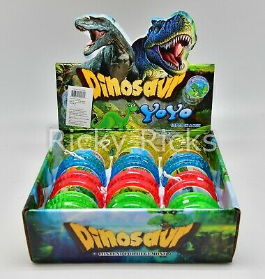 12 Light Up Dinosaur Yo-Yo's T-Rex Party Bag Fillers Favors Flashing LED - Flashing Toys