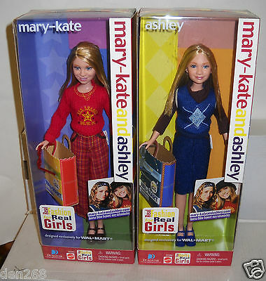 #6565 RARE NRFB Mattel Walmart Mary Kate & Ashley Fashions For Real Girls Dolls