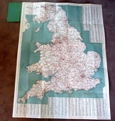 c1945 Large Foldout MAP ENGLAND WALES Printed on Cloth