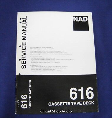 Original NAD 616 Cassette Tape Deck Service Manual, used for sale  Shipping to Canada
