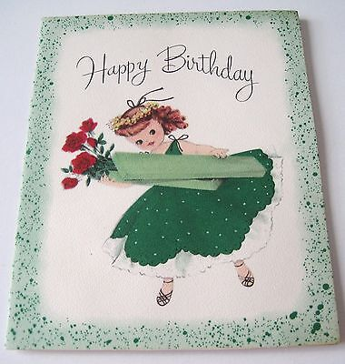 Used Vtg Greeting Card Cute Girl in Green Dress w Box of Long Stem Red Roses