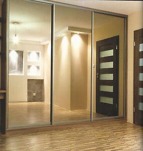 New 3 Door Full Silver Mirror Sliding Wardrobe Doors H 2430 X W 3183mm