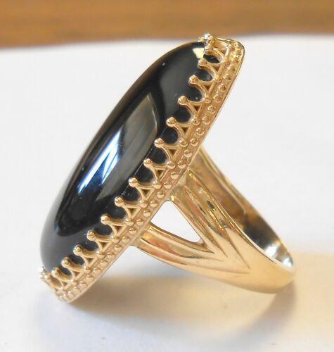 Elongated 30mm Black Onyx 14K Yellow Gold Crown Molding Setting Ring Size 7.5