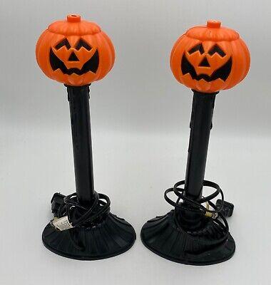 Pair 1989 Atico Plastic Blow Mold Light Halloween Jack O Lantern Pumpkin Candle