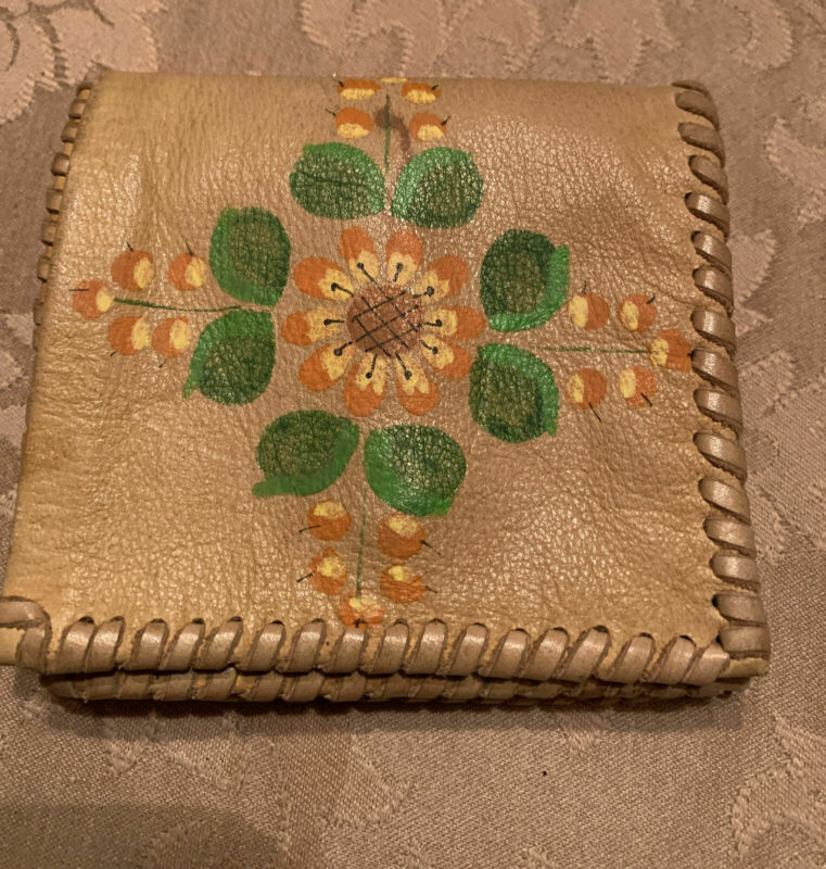 Vtg Tan Handmade Deer Skin Wallet Coin Purse Hand Painted Whip Stitch Folded