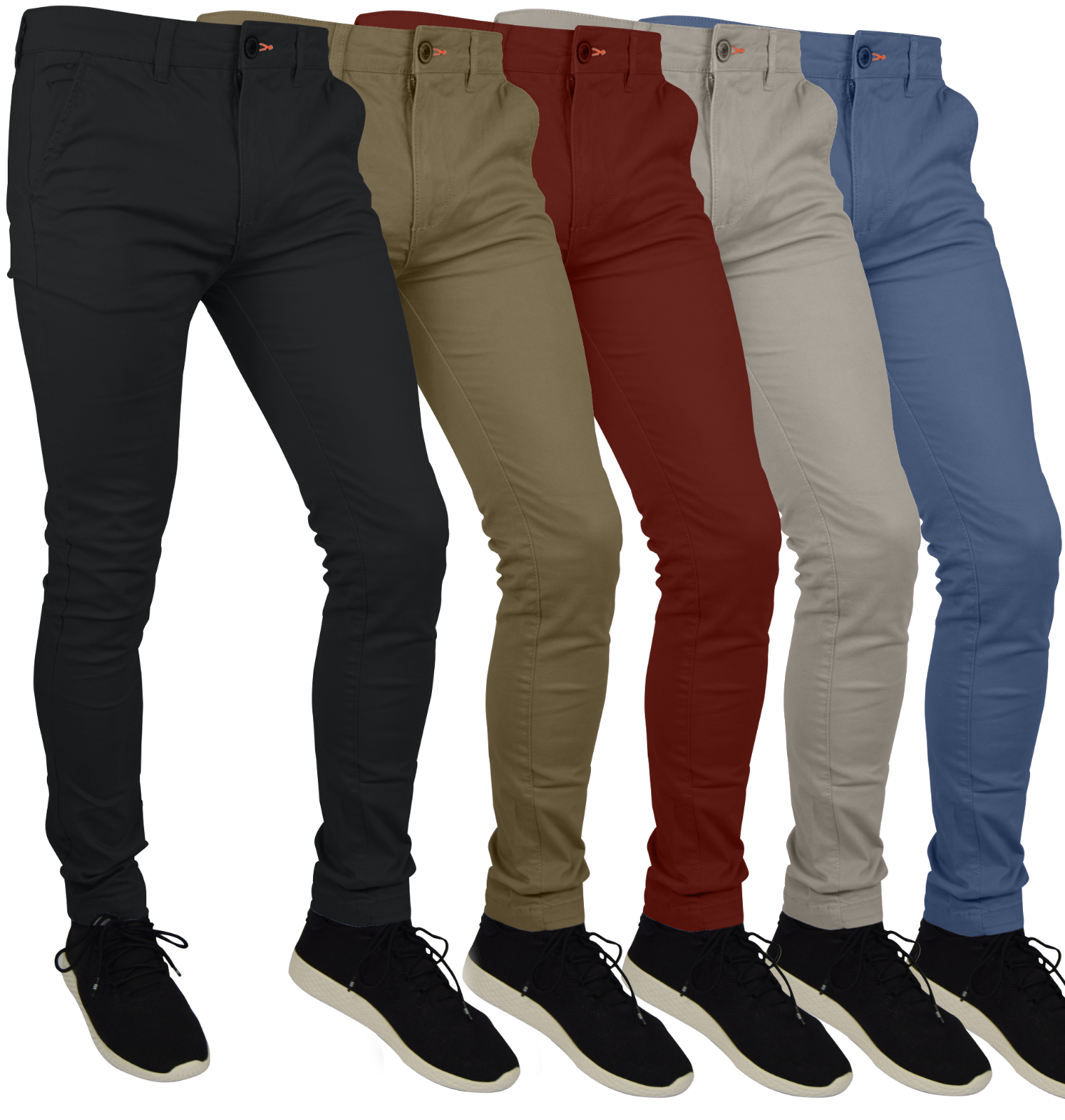 Mens Skinny Fit Stretch Chino Trousers Casual Flat Front Super Skinny Pants Clothing, Shoes & Accessories