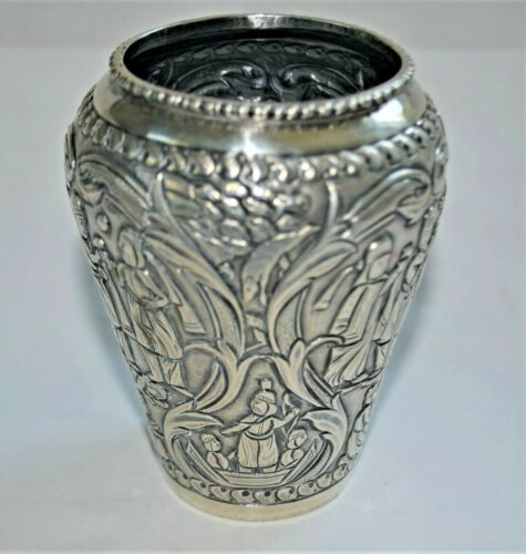 Vintage Hand-Crafted Solid 90% Coin Silver Figural Cabinet Vase