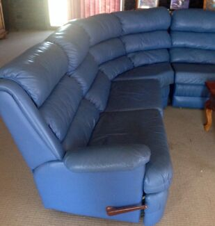 Blue leather modular lounge with 2 rockers Ocean Reef Joondalup Area Preview