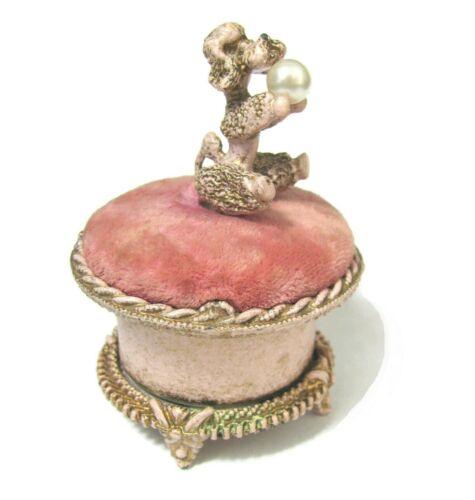 Vtg Florenza Poodle Pearl Pin Cushion Metal Trinket Box Dog MCM antique Pink