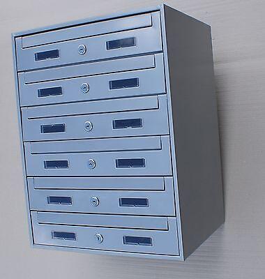 6er  6-fach und andere Briefkastenanlage Verzinkt , Einbau Aufputz,  Silber