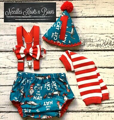 Dr Suess Cake Smash Outfit, Boys Dr. Suess 1st Birthday Outfit, Made in USA (Dr Suess Cake)