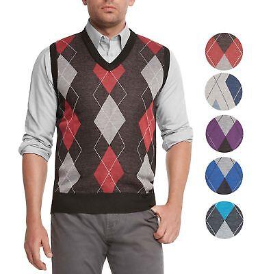 True Rock Men's Athletic Cut Argyle V-Neck Sweater - Argyle Vest