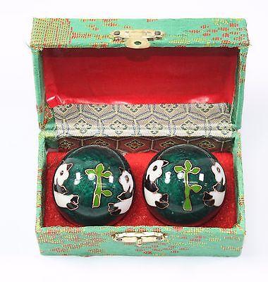 Green Chinese Baoding Panda Cloisonne Small Iron Ball Hand Stress Relief Set