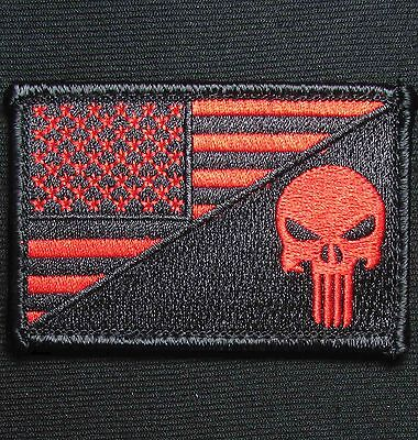 PUNISHER SKULL USA AMERICAN FLAG ARMY MORALE TACTICAL BLACK OPS RED VELCRO PATCH