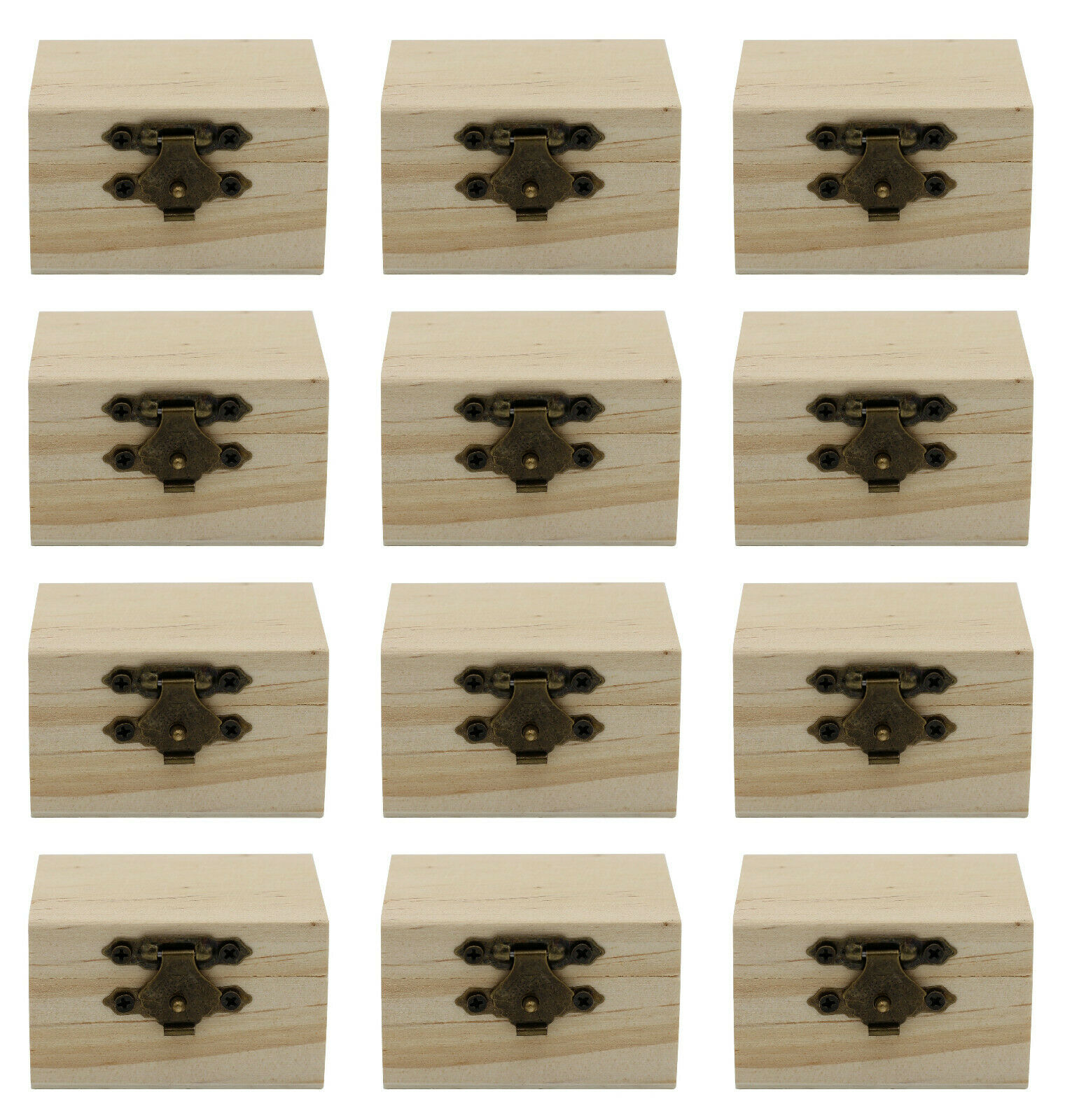 12-Pack Mini Wooden Treasure Boxes with Locking Clasp – Unfinished Wood Treasure Crafts