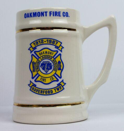 1987 Oakmont Fire Co. 75th Anniversary Pennsylvania Ceramic Porcelain Stein Cup