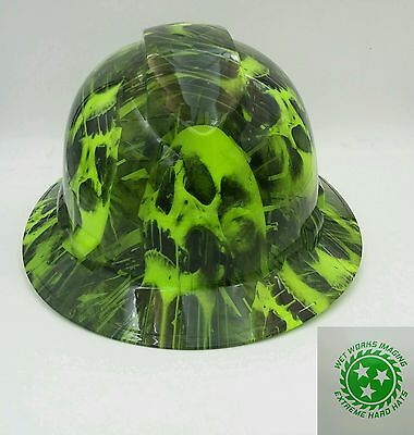 Hard Hat Full Brim Custom Hydro Dipped Osha Approved Melting Skulls New Lime