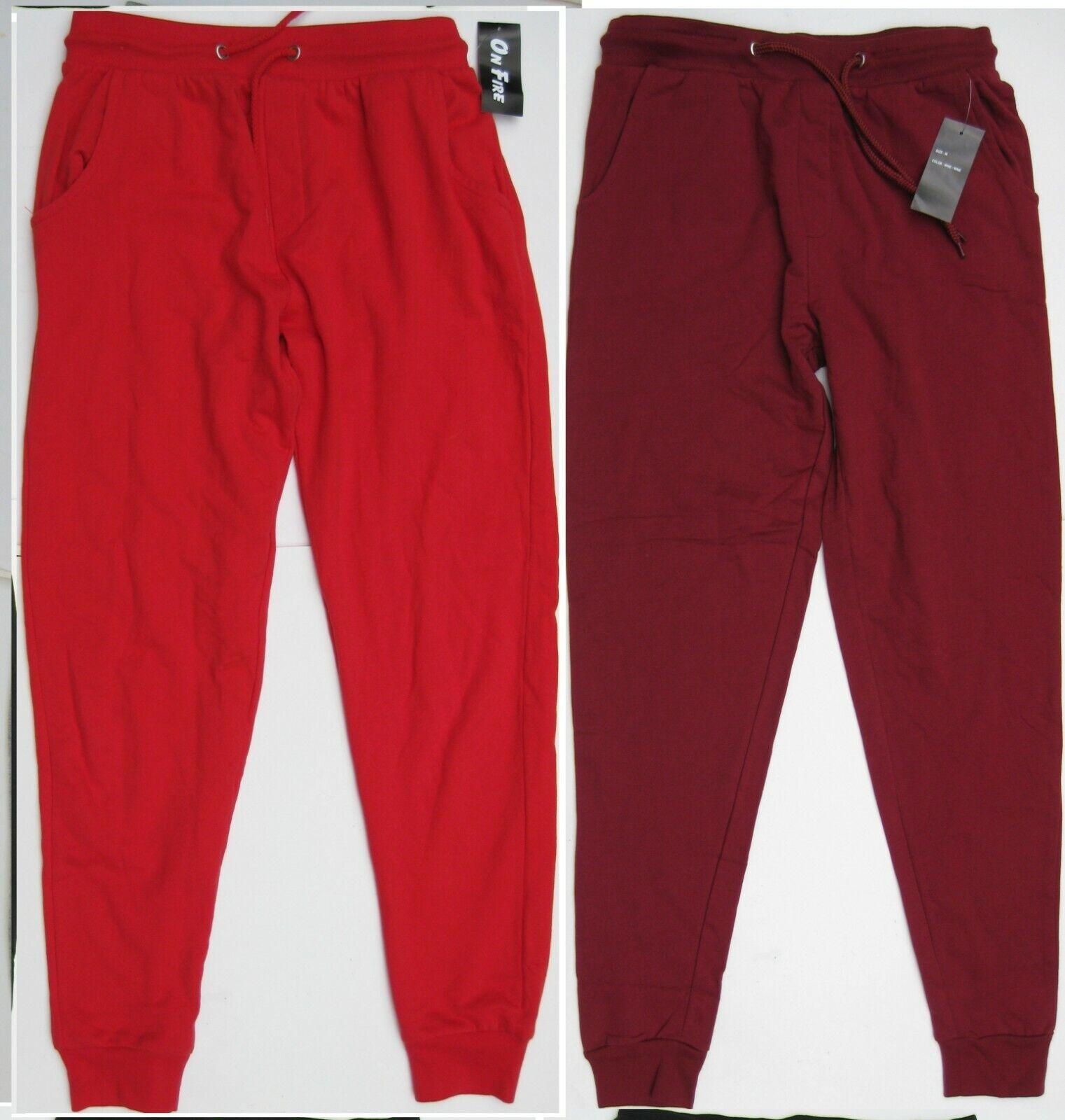 New On Fire 100% Soft Cotton Knit Fleece Jogger Pants Cuffed
