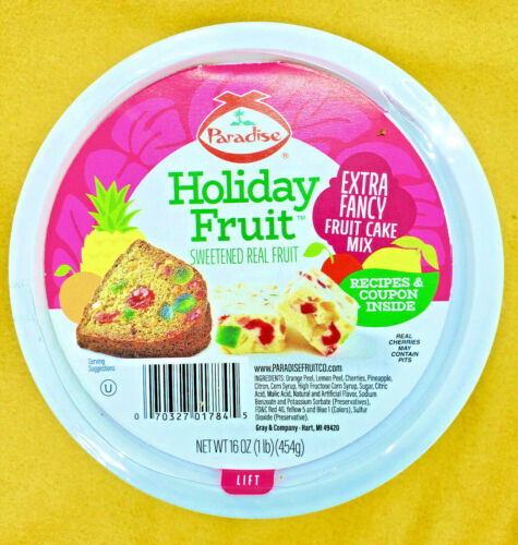 Paradise Diced Fruit Mix Candied Fruit Glaze Christmas Fruit Cake Mix 1 lb