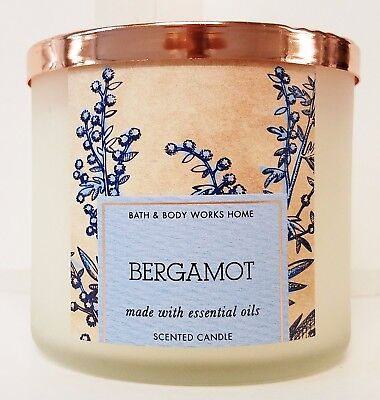 1 Bath Body Works Essentials BERGAMOT Large 3-Wick Scented Candle 14.5 oz Bergamot Candle Scent