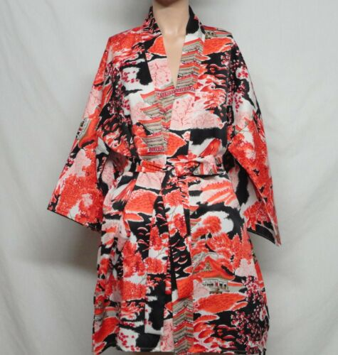Vintage Woman Japanese  Kimono Top Short With Sash Tie Polyester Japan Made Sz 3