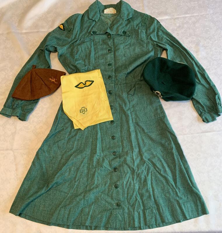 1950's OFFICIAL GIRL SCOUT UNIFORM Button Up Green Dress, Kangol Hat, Scarf Tie
