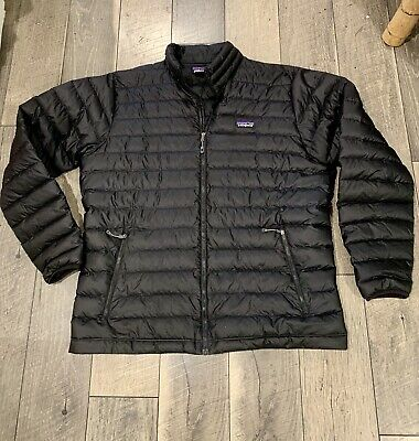 Men's XL Patagonia Down Sweater Jacket Black Full Zip Insulated Quilted Puffer