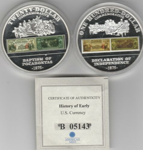 2) History of Early US Currency Commemorative Proof Coin American Mint $20 $100