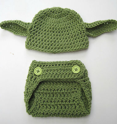 CROCHET YODA inspired DIAPER COVER BABY HAT SET infant toddler knit photo prop](Yoda Baby)